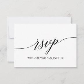 Elegant Black Calligraphy Simple RSVP Card