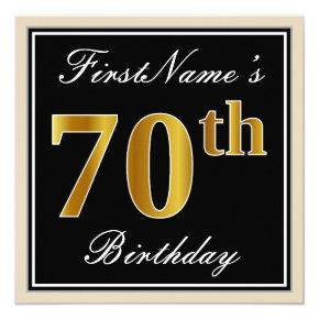Elegant, Black, Faux Gold 70th Birthday + Name Invitations