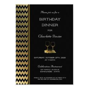 Elegant Black Gold Chevron Striped Birthday Dinner Invitation