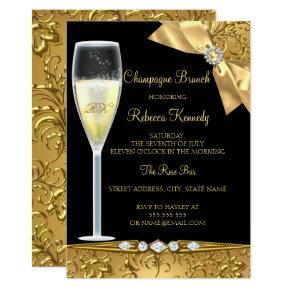 Elegant Black Gold Damask Champagne Brunch Invite