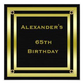 Elegant Black & Gold Framed Man's 65th Birthday Invitation