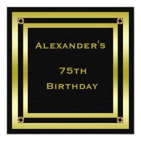Elegant Black & Gold Framed Man's 75th Birthday Invitations