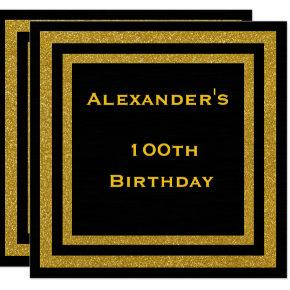 Elegant Black & Gold Glitter Framed 100th Birthday Card