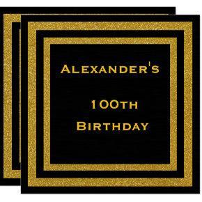 Elegant Black & Gold Glitter Framed 100th Birthday Invitations