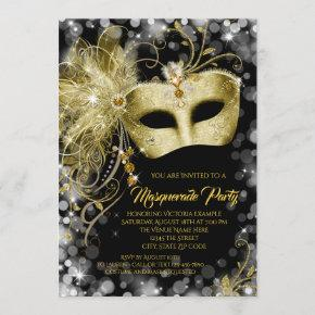 Elegant Black Gold Glitter Masquerade Party Invitation