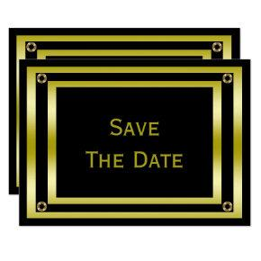 Elegant Black & Gold  Man's 100th Save The Date Card