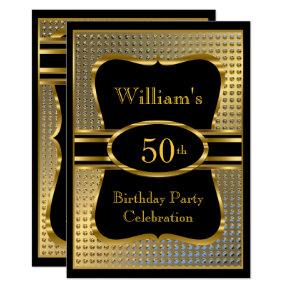 Elegant Black Gold Mens Birthday Party Invitation