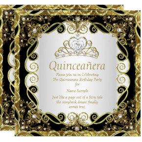 Elegant Black Gold Pearl Princess Quinceanera Invitations