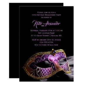 Elegant Black Purple Sweet 16 Masquerade Party Card