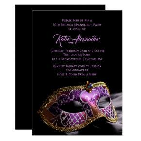 Elegant Black Purple Sweet 16 Masquerade Party Invitation