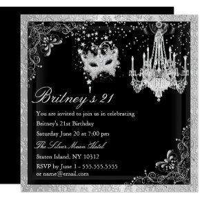Elegant Black Silver Masquerade 21st Invite