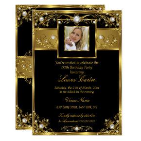 Elegant Black White Gold Pearl Photo Birthday Invitations