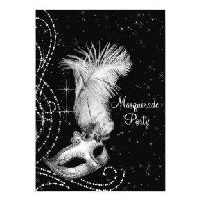 Elegant Black White Masquerade Party Invitation