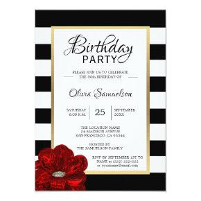 Elegant Black White Red Rose Birthday Party Invitation