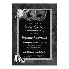Black An White Sweet 16 Birthday Invitations Candied Clouds