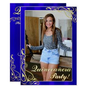 Elegant Blue and Gold Your Photo Quinceañera Invitation