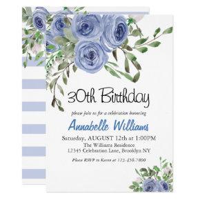 Elegant Blue Floral Watercolor Stripes Birthday Invitations