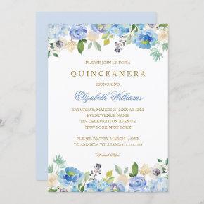 Elegant Blue Gold Floral Quinceanera Invitation