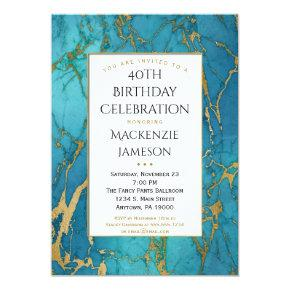 Elegant Blue Gold Marble Birthday Invitation
