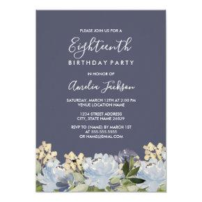 Elegant Blue Gray Floral Watercolor 18th Birthday Invitation