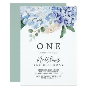 Elegant Blue Hydrangea White First Birthday Party Invitation