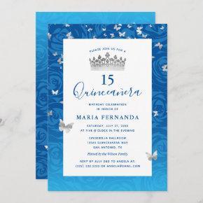 Elegant Blue Rose Silver Crown Floral Quinceanera Invitation