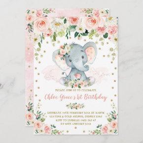 Elegant Blush Floral Elephant Girl 1st Birthday Invitation