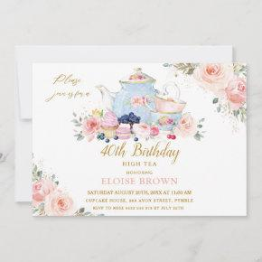 Elegant Blush Pink Floral High Tea Party Birthday Invitation