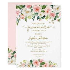 Elegant Blush Pink Green Gold Floral Quinceañera Invitation