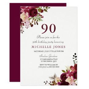 Elegant Burgundy Floral 90th Birthday Invitation