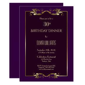 Elegant Burgundy Purple Gold 30th Birthday Dinner Invitation
