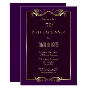 Elegant Burgundy Purple Gold 50th Birthday Dinner Invitation