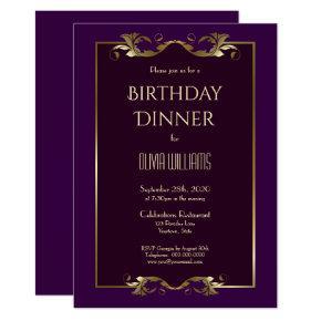 Elegant Burgundy Purple Gold Birthday Dinner Party Invitation