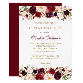Elegant Burgundy Rose Quinceanera Invitations