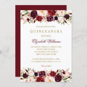Elegant Burgundy Rose Quinceanera Invitation