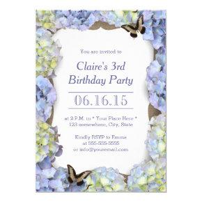 Elegant Butterfly Vintage Floral Birthday Party Card
