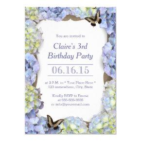 Elegant Butterfly Vintage Floral Birthday Party Invitations