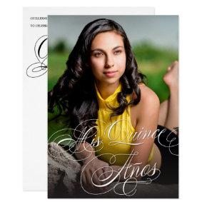 Elegant Calligraphy Photo Quinceañera Invitation