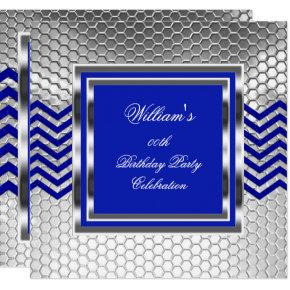 Elegant Chevron Blue Silver Birthday Party Mens Invitations