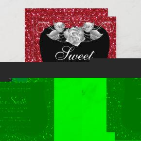 Elegant Chic Red Glitter Silver Rose Sweet 16 Invitation