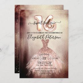 Elegant Chic Rose Gold Dress Confetti Sweet 16 Invitation