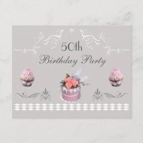 Elegant Cupcakes Pink & Grey 50th Birthday Invitation