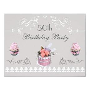 Elegant Cupcakes Pink & Grey 50th Birthday Invitation