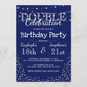 Elegant Double Celebration Birthday Party Invitation