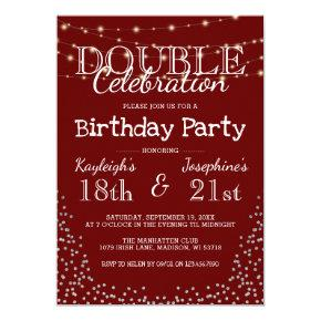 Elegant Double Celebration Birthday Party Invitation