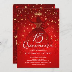 Elegant Dress Crown Red and Gold Quinceanera Invitation
