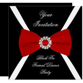 Elegant Elegant Black White Red Bow Tie Invitation