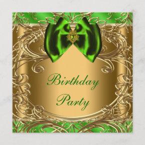 Elegant Emerald Green and Gold Birthday Party Invitation