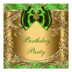 Elegant Emerald Green and Gold Birthday Party Invitation