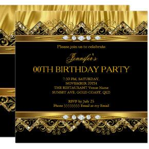 Elegant Faux Gold Silk Black Diamond Invitations